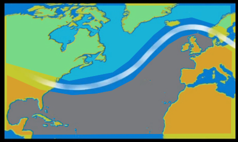 Typical route of the jet stream keeping polar air to the north of the UK