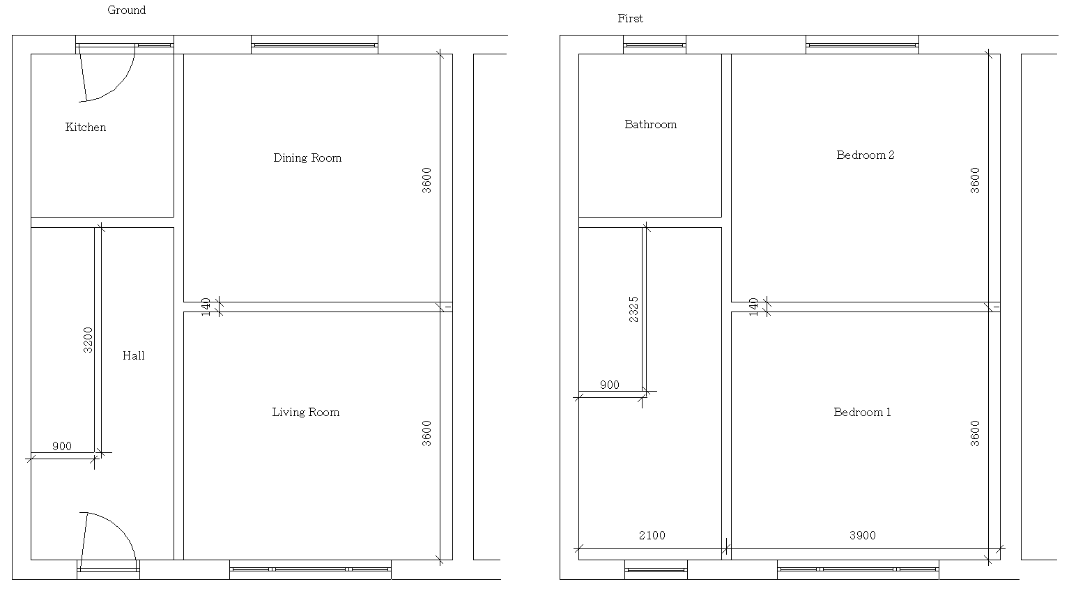 Semi-detached house floor plan