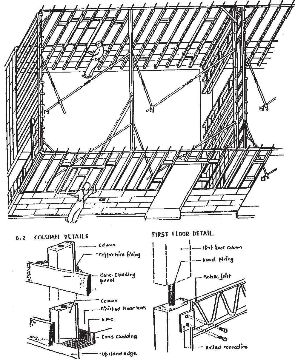 Diagram showing the construction of Airey houses