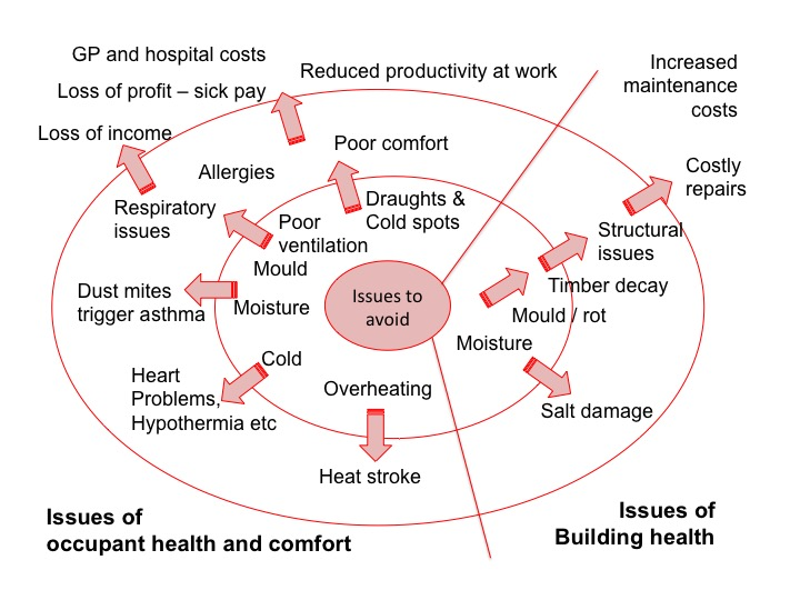 Diagram showing costs and health impacts of building issues (Source: Tina Holt)